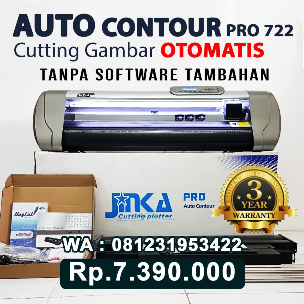 SUPPLIER MESIN CUTTING STICKER JINKA PRO 722 LED AUTO CONTOUR CUT Tebing Tinggi